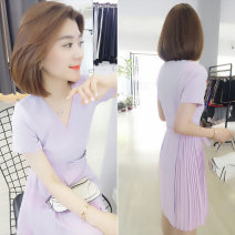 Dress Summer 2020 lilac colour S M L Mid length dress singleton  Short sleeve street V-neck High waist Socket A-line skirt routine Others 30-34 years old Concubine 81% (inclusive) - 90% (inclusive) polyester fiber Polyester 85% polyamide 15% Pure e-commerce (online only) Europe and America