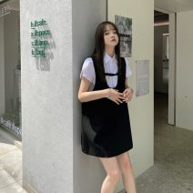 Dress Autumn 2020 Black spot S,M,L Short skirt singleton  Sleeveless commute other High waist Solid color Socket A-line skirt other straps 18-24 years old Type A Korean version 91% (inclusive) - 95% (inclusive) polyester fiber