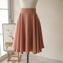 skirt Spring 2021 S,XL,XS,L,M White, gray, beige, skin powder, orange powder longuette High waist A-line skirt Solid color Type A
