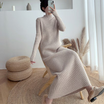 Dress Winter 2020 Black apricot Khaki S M L XL longuette singleton  Long sleeves commute Half high collar High waist Solid color Socket A-line skirt routine 25-29 years old Type H AXBE Splicing 51% (inclusive) - 70% (inclusive) knitting wool Wool 65% polyamide 35% Pure e-commerce (online only)