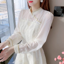 Dress Spring 2021 Apricot S,M,L,XL Middle-skirt singleton  Long sleeves commute stand collar High waist Solid color Socket A-line skirt routine Others Type A Retro Lace 91% (inclusive) - 95% (inclusive) Lace polyester fiber