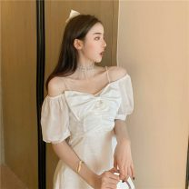 Women's large Summer 2021 White violet S M singleton  commute Short sleeve Solid color Korean version One word collar other other 1-6820 Amatullah / amatullah 18-24 years old Middle-skirt Other 100% Pure e-commerce (online only)
