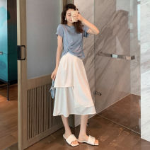 Women's large Summer 2021 Blue top + white skirt green top + black skirt S M L XL 2XL Two piece set commute Korean version 19q2345d Amatullah / amatullah 25-29 years old Other 100% Pure e-commerce (online only)