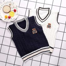 Vest female Embroidered bear Vest White, embroidered bear vest blue The recommended height is 80-90cm for 90, 90-102cm for 100, 103-110cm for 110, 110-115cm for 120, 116-125cm for 130 and 126-140cm for 140 Other / other 3 months
