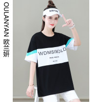 T-shirt The starry sky is black and orange red M L XL Summer 2021 Short sleeve Crew neck easy Medium length routine commute cotton 71% (inclusive) - 85% (inclusive) 25-29 years old Korean version originality letter Ou Lanyan D1777-48OLY printing Cotton 82.8% polyester 17.2%