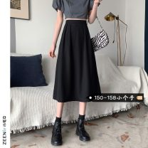 skirt Summer 2021 S M L XS black Mid length dress commute High waist A-line skirt Solid color Type A 18-24 years old More than 95% Small house woman shopping other Korean version Other 100%
