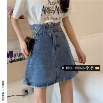 skirt Summer 2021 S M L XS Light blue dark blue Short skirt commute High waist A-line skirt Solid color Type A 18-24 years old More than 95% Small house woman shopping other Korean version Other 100%