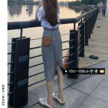 skirt Summer 2021 S M L XS White T-shirt plaid skirt Mid length dress commute High waist A-line skirt lattice Type A 18-24 years old More than 95% Small house woman shopping other Korean version Other 100%
