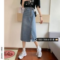 skirt Summer 2021 S M L XS blue Mid length dress commute High waist A-line skirt Solid color Type A 18-24 years old More than 95% Small house woman shopping other Korean version Other 100%