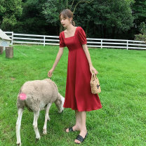 Dress Summer 2021 claret - Mall quality black - Market quality S M L XL Mid length dress singleton  Short sleeve commute square neck High waist Solid color Socket A-line skirt puff sleeve Others 25-29 years old Type A Plain book Korean version SUCE6170RX More than 95% polyester fiber