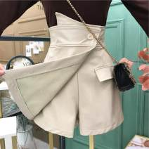 Casual pants Pink, apricot, khaki, black S,M,L,XL Spring 2021 shorts Wide leg pants High waist commute [0C122] Other / other PU leather Korean version