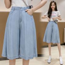 Jeans Summer 2021 wathet S,M,L,XL,2XL Pant High waist Wide legged trousers Thin money 18-24 years old Washable, Multi Pocket Thin denim light colour xdg20 51% (inclusive) - 70% (inclusive)