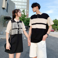 T-shirt Women's skirt, men's top, men's white shorts, men's suit [top + pants], grey pants S,M,L,XL,2XL,3XL Summer 2020 Short sleeve Polo collar easy routine commute cotton 31% (inclusive) - 50% (inclusive) Korean version youth Thick horizontal stripe Other / other Guotou, 138-d, 1 / F, 8692, Jiyou