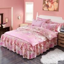 Bedding Set / four piece set / multi piece set spandex other Plants and flowers 128x68 cotton 4 pieces 40 Bed skirt Qualified products Countryside 100% cotton