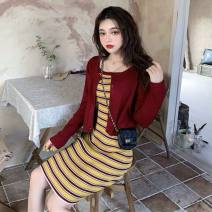 Dress Spring 2021 Red T-shirt, red and yellow striped suspender skirt S,M,L,XL Short skirt Two piece set Long sleeves Splicing