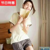 Pajamas / housewear set lovers Other / other XXXL,XL,XXL,L,S,M cotton Short sleeve Simplicity pajamas summer Thin money Crew neck Solid color shorts youth 2 pieces rubber string More than 95% pure cotton LSF6VD1 200g and below