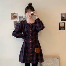 shirt Plaid Dress S M L Winter 2020 other 96% and above Long sleeves commute Medium length square neck routine lattice 18-24 years old Self cultivation Webbed Korean version Other 100% Pure e-commerce (online only)