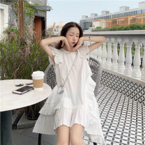 Women's large Spring 2021 Black white dress S M L XL Dress singleton  commute Self cultivation Socket Short sleeve Korean version Crew neck routine +43 Webbed 25-29 years old Short skirt Other 100% Pure e-commerce (online only) Irregular skirt