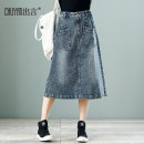skirt Spring 2020 S M L XL XXL 3XL Retro Blue Middle-skirt commute High waist Denim skirt Solid color Type A 35-39 years old CY9861 More than 95% Denim Make a speech cotton Embroidered, worn and stitched literature Cotton 100% Pure e-commerce (online only)