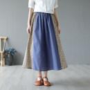 skirt Summer 2021 More than 95% hemp Medium length skirt Natural waist A-line skirt commute Design and color Type A HMT21509-16 other literature One size fits all Blue, red, green