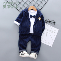 Suit / Blazer 80cm 90cm 100cm 110cm Rhinoceros forest male No model Britain spring and autumn stripe routine cotton Flax 100% 12 months 6 months 9 months 18 months 2 years 3 years 4 years 5 years old