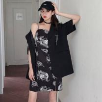 Women's large Summer 2020 Suit jacket (including chain) suspender skirt XL [120-140 Jin] 2XL [140-155 Jin] 3XL [155-170 Jin] 4XL [170-190 Jin] s [80-90 Jin] m [90-105 Jin] l [105-120 Jin] suit commute easy Short sleeve Solid color Korean version Medium length routine TT0722012 Iris Rosa chain