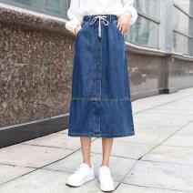 skirt Autumn 2020 26 27 28 29 30 31 32 33 34 36 38 40 Denim blue longuette fresh High waist Denim skirt Solid color Type A 25-29 years old 81% (inclusive) - 90% (inclusive) Denim cotton Pocket button panel Cotton 82.4% polyester 15.4% viscose 2.2%
