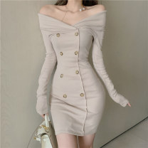 Dress Autumn 2020 Apricot black S M L XL Short skirt singleton  Long sleeves commute One word collar High waist Solid color Socket One pace skirt routine Others 18-24 years old Type H Zhao Xiaolin Korean version Button nwm20065 More than 95% other other Other 100% Pure e-commerce (online only)