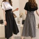 Women's large Spring 2020 Black top + plaid skirt white top + black skirt M [recommended 80-100 Jin] l [recommended 100-115 Jin] XL [115-125 Jin] 2XL [125-140 Jin recommended] 3XL [140-160 Jin recommended] 4XL [160-180 Jin recommended] Two piece set commute easy thin Socket Short sleeve routine 948a