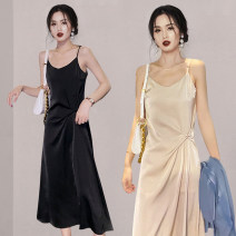 Dress Summer 2021 Yellow black green grey S M L XL XXL longuette singleton  Sleeveless commute V-neck Loose waist Solid color Socket A-line skirt routine camisole 25-29 years old Type A Guangdong Philippines Korean version Open back fold More than 95% other Other 100% Pure e-commerce (online only)