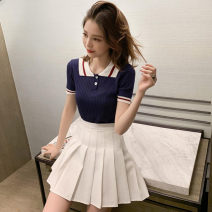 Fashion suit Summer 2020 S M L XL White Top Navy top White pleated skirt black pleated skirt white top + black skirt Navy Top + white skirt 18-25 years old Lin Yao MBCG10112 Other 100% Pure e-commerce (online only)
