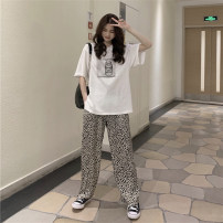 Fashion suit Summer 2021 Average size White T-shirt black T-shirt leopard pants 18-25 years old Momanwei M-1697 81% (inclusive) - 90% (inclusive) cotton Cotton 85% others 15% Pure e-commerce (online only)
