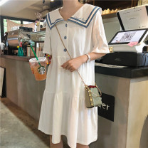 Dress Pregnant nine best seven Pink white green blue yellow S M L XL XXL Korean version Short sleeve Medium length summer Lapel Space cotton 307 in stock