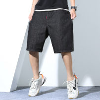 Jeans Fashion City GxxH 2XL,3XL,4XL,5XL,6XL black routine Micro bomb Regular denim k10391 trousers Other leisure Cotton 90% polyurethane elastic fiber (spandex) 10% summer Large size middle-waisted Loose straight tube tide 2020 Straight foot Button cotton