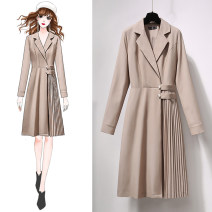 Dress Spring 2021 Picture color S M L XL Mid length dress singleton  Long sleeves commute tailored collar High waist Solid color Socket A-line skirt routine Others 25-29 years old Confused Korean version HS8083 More than 95% other other Other 100% Exclusive payment of tmall