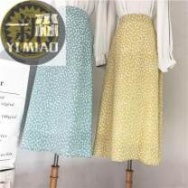 skirt Summer of 2019 One size fits all elastic waist White, black, light green, yellow longuette fresh High waist A-line skirt Decor Type A 18-24 years old Chiffon Other / other Printed bow with zipper stitching
