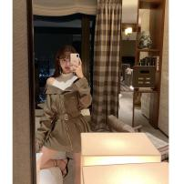 Windbreaker Autumn of 2019 XS,S,M Premium coffee green Long sleeves Thin money have more cash than can be accounted for commute zipper routine Self cultivation Three dimensional decoration 31% (inclusive) - 50% (inclusive)