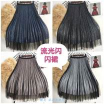 skirt Winter 2020 145/52A Champagne, black, silver, blue, white T-shirt longuette High waist Pleated skirt Bright silk