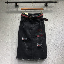 skirt Spring 2021 S,M,L,XL,2XL black Mid length dress street Natural waist skirt Solid color Type H 81% (inclusive) - 90% (inclusive) Denim cotton Embroidery, thread decoration, stitching, sticking cloth Europe and America