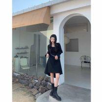Dress Spring 2021 black S,M,L,XL Middle-skirt singleton  Long sleeves commute square neck High waist Solid color Socket Irregular skirt pagoda sleeve 18-24 years old Splicing polyester fiber