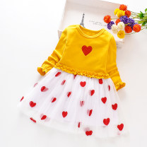 Dress Flying sleeve love pink flying sleeve love yellow flying sleeve love scarlet embroidered love Skirt Pink Embroidered love skirt scarlet embroidered love skirt yellow female Tiandihu M(90cm) L(95cm) XL(100cm) XXL(110cm) 3XL(115cm) 4XL(125cm) 5XL(130cm) spring and autumn princess Long sleeves