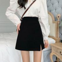 skirt Autumn 2020 S,M,L Split skirt cmox, ordinary skirt Bu Short skirt commute High waist A-line skirt Solid color Type A 18-24 years old 107X_ cqr 71% (inclusive) - 80% (inclusive) Other / other polyester fiber Korean version