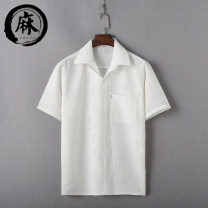 shirt Business gentleman Others M,L,XL,2XL,3XL Thin money square neck Short sleeve easy daily summer middle age Japanese Retro 2018 No iron treatment Arrest line Easy to wear