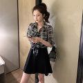 Women's large Summer 2021 Plaid Shirt + braces skirt S M L XL Kafeland Other 100% Pure e-commerce (online only)