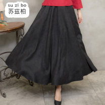 skirt Winter of 2019 Average size black longuette commute High waist A-line skirt Solid color Type A SZB19D190550 More than 95% Suzberg other Pleated pocket Retro Other 100% Pure e-commerce (online only)