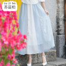skirt Spring 2020 Average size Light blue pink Mid length dress commute Natural waist A-line skirt Type A SZB20A200940 More than 95% Suzberg other Embroidery ethnic style Other 100% Pure e-commerce (online only)