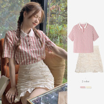 Women's large Summer 2021 shirt singleton  commute Straight cylinder Socket Short sleeve lattice Polo collar routine cotton routine Fox knowledge 18-24 years old Button Short skirt Other 100% Pure e-commerce (online only)