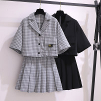 Women's large Summer 2020 Other oversize styles Two piece set commute Self cultivation thin Cardigan Short sleeve Korean version other have cash less than that is registered in the accounts Polyester polyester Three dimensional cutting routine Fox knowledge 18-24 years old pocket Short skirt other