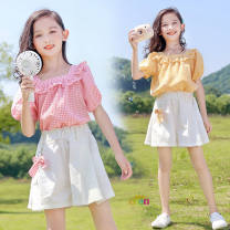 suit Other / other White shorts, yellow Plaid suit for pendant, Pink Plaid suit for pendant, pink plaid coat, yellow plaid coat female summer Korean version Short sleeve + pants Multi piece set routine Socket nothing bow cotton children Shopping Class B Cotton 100% 10, 11, 12, 13, 14, 9