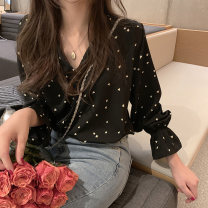 shirt Red, black, apricot S M L XL 2XL Spring 2021 other 96% and above Long sleeves commute Regular V-neck Socket shirt sleeve Dot 18-24 years old Straight cylinder Shafenya Korean version Other 100% Pure e-commerce (online only)